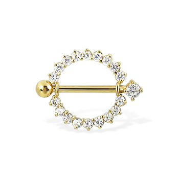 14K Real Yellow Gold Gemmed Nipple Ring With Jeweled Barbell, 14 Ga