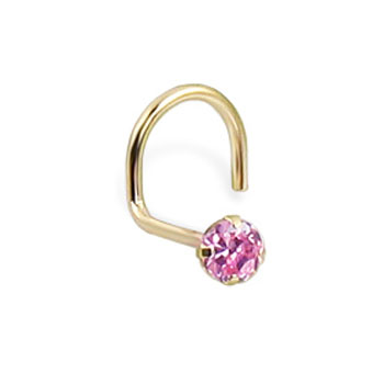 14K Real Yellow Gold Nose Screw With Round 2.5Mm Pink Cz, 20 Ga