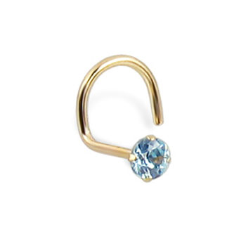 14K Real Yellow Gold Nose Screw With Round 2.5Mm Aqua CZ, 20 Ga