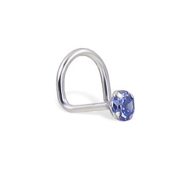 14K White Gold Nose Screw With Round Light Blue CZ, 20 Ga