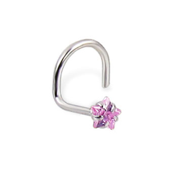 14K White Gold Nose Screw With Star-Shaped Pink Cubic Zirconia, 20 Ga