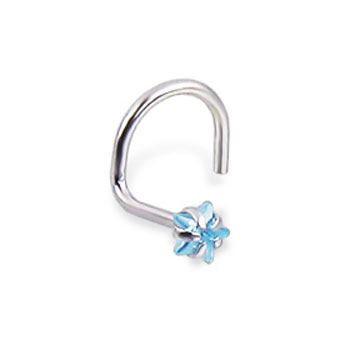 14K White Gold Nose Screw With Star-Shaped Aquamarine Cubic Zirconia, 20 Ga