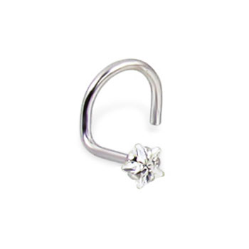 14K White Gold Nose Screw With Star-Shaped Clear Cubic Zirconia, 20 Ga