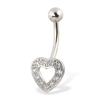 14K White Gold Jeweled Hollow Heart Belly Button Ring