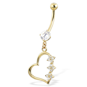 14K Yellow Gold Belly Button Ring with Round Cubic Zirconia And Dangling Hollow Jeweled Heart