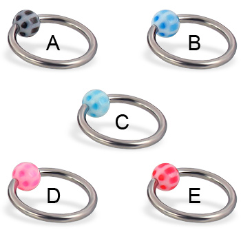 Soccer ball captive bead ring, 14 ga