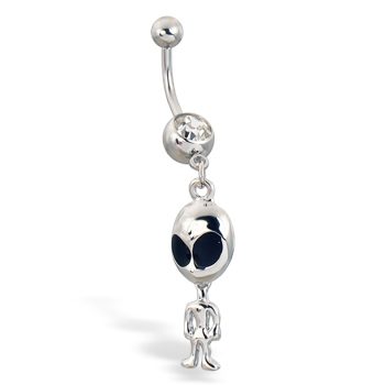 Alien dangle navel ring