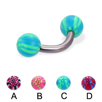 Titanium curved barbell with acrylic checkered balls, 12 ga