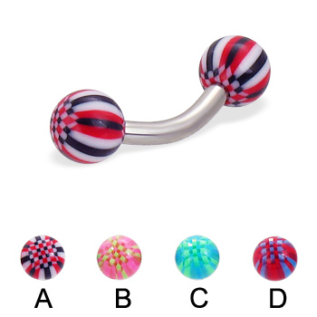 Curved barbell with acrylic checkered balls, 12 ga