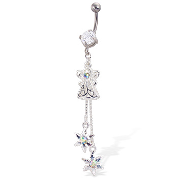 Christmas Belly Button Ring with Dangling Angel And Two Snowflakes