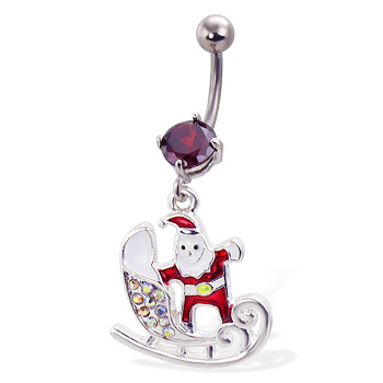 Santa with Sled Christmas Belly Button Ring