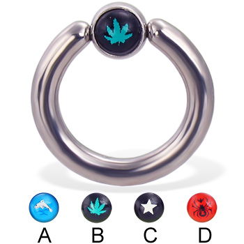 Captive bead ring with logo ball, 8 ga