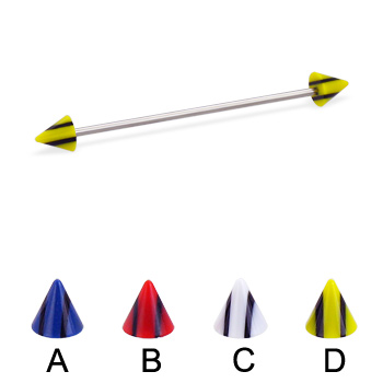 Long barbell (industrial barbell) with double striped cones, 16 ga