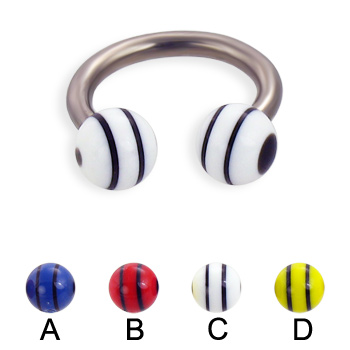 Titanium circular barbell with double striped balls, 12 ga