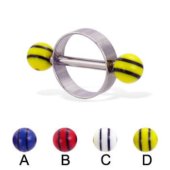 Nipple ring with double striped balls, 14 ga or 12 ga