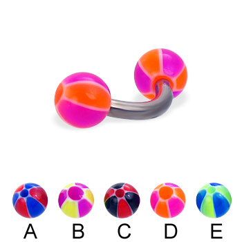 Titanium curved barbell with balloon balls, 12 ga