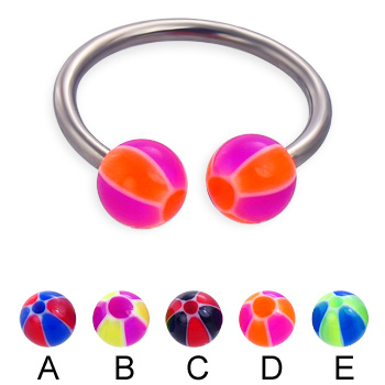 Titanium circular barbell with balloon balls, 14 ga