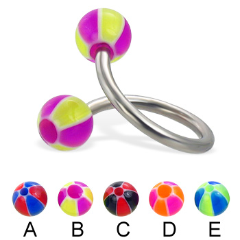 Spiral barbell with balloon balls, 14 ga
