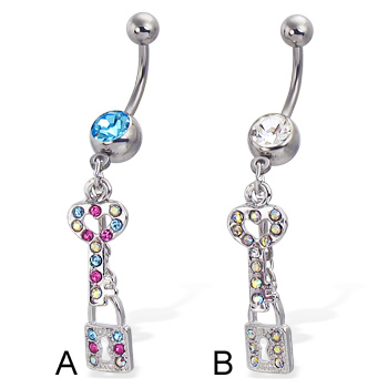 Belly button ring with jeweled key and lock