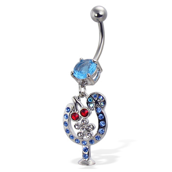 Jeweled cocktail belly button ring