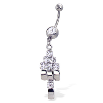 Belly Button Ring with Jeweled Dangle