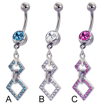 Belly button ring with two-square dangle