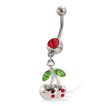 Belly button ring with dangling jeweled cherry