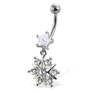 Belly button ring with star-shaped stone and jeweled dangling star