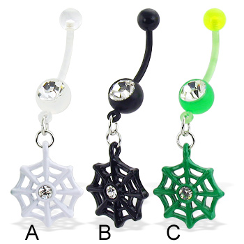 Bioplast belly button ring with dangling web