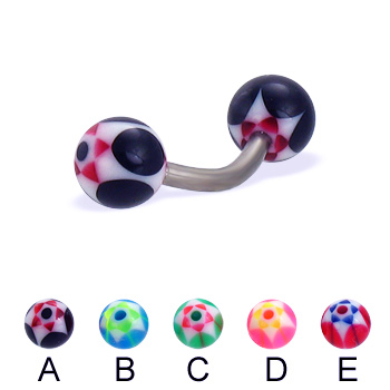 Titanium curved barbell with acrylic star balls, 14 ga