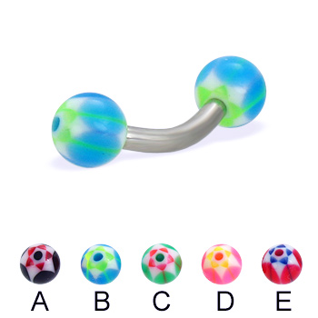 Curved barbell with acrylic star balls, 12 ga