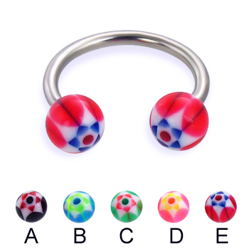 Circular barbell with acrylic star balls, 14 ga