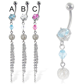 Belly button ring with stone, dangling gem and three chains
