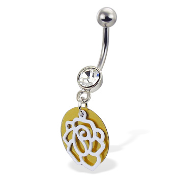 Jeweled belly button ring with rose and circle