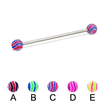 Long barbell (industrial barbell) with wave balls, 14 ga