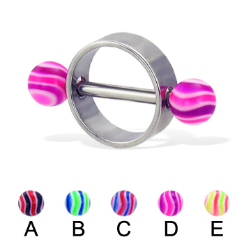 Wave ball nipple ring, 14 ga or 12 ga