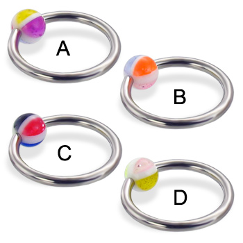 Captive bead ring with multicolor 4-section ball, 14 ga
