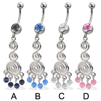 Jeweled belly button ring with ornament dangle