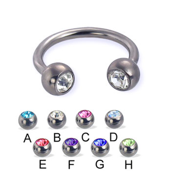 Titanium jeweled circular barbell, 14 ga