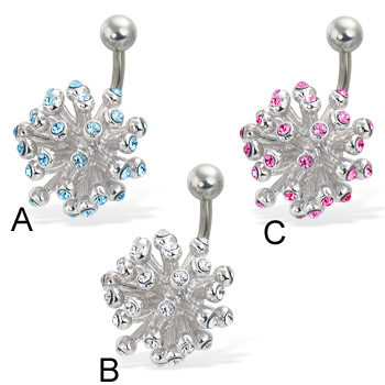 Jeweled fireworks belly button ring