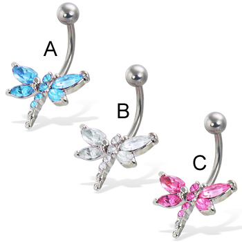 Jeweled dragonfly belly button ring