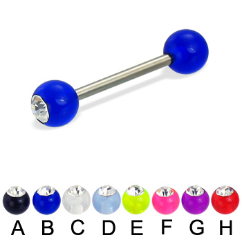Single acrylic ball with stone titanium straight barbell, 14ga