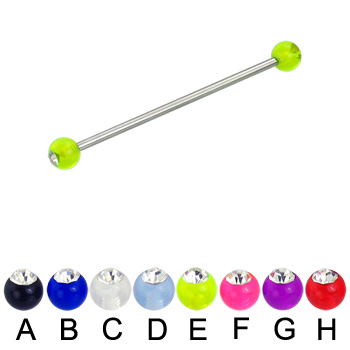 Acrylic ball with stone long barbell (industrial barbell), 14 ga