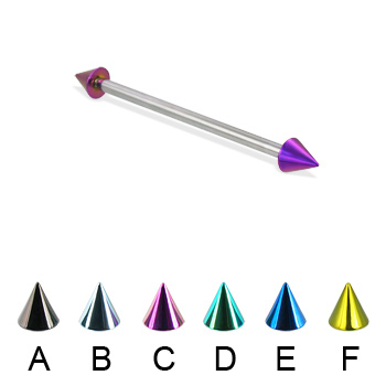 Long barbell (industrial barbell) with colored cones, 12 ga