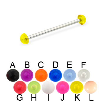 Long Barbell (Industrial Barbell) with Acrylic Half Balls, 12 Ga