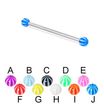 Long barbell (industrial barbell) with beach balls, 12 ga