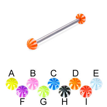 Long barbell (industrial barbell) with beach half balls, 12 ga