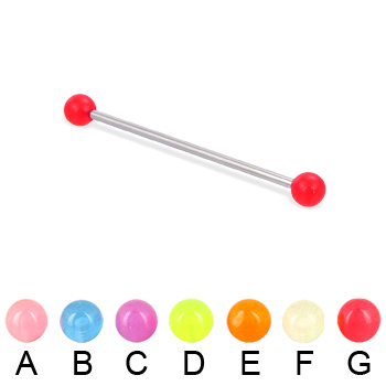 Long barbell (industrial barbell) with glow-in-the-dark balls, 14 ga
