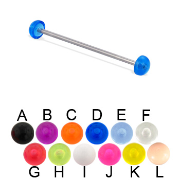 Long barbell (industrial barbell) with acrylic half balls, 14 ga
