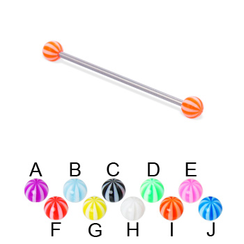 Long barbell (industrial barbell) with beach balls, 14 ga